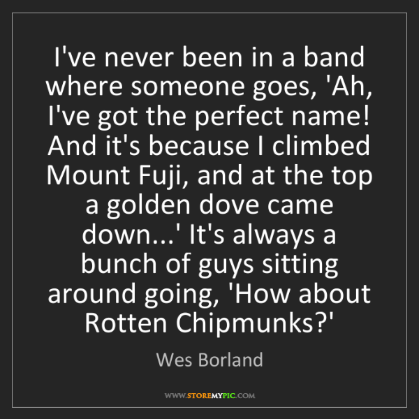 Wes Borland: I've never been in a band where someone goes, 'Ah, I've...