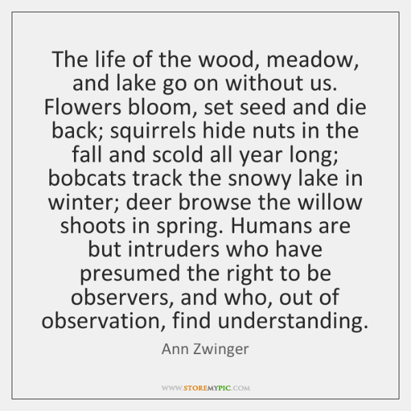 The life of the wood, meadow, and lake go on without us. ...