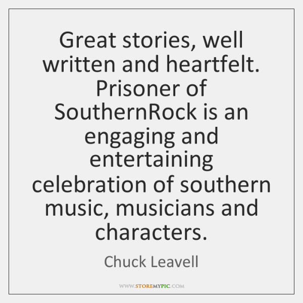 Great stories, well written and heartfelt. Prisoner of SouthernRock is an engaging ...