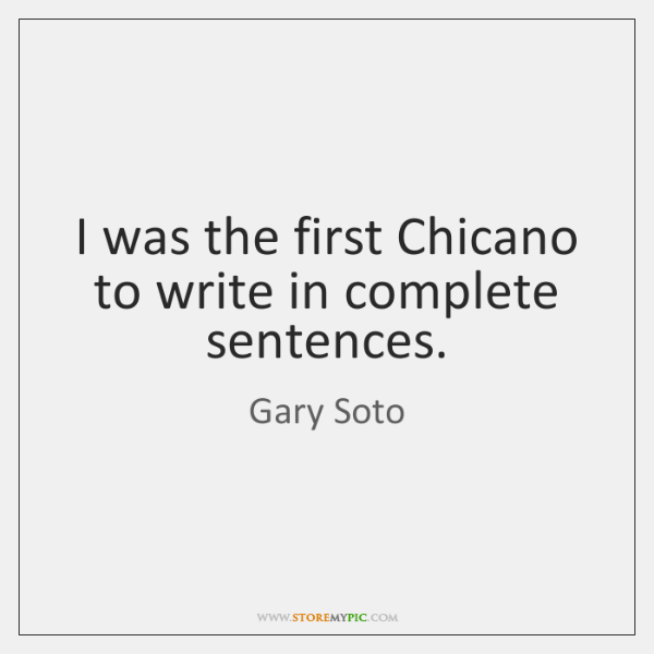 I was the first Chicano to write in complete sentences.