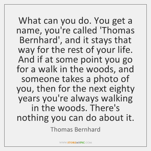 What can you do. You get a name, you're called 'Thomas Bernhard', ...