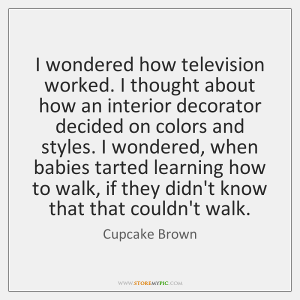 I wondered how television worked. I thought about how an interior decorator ...