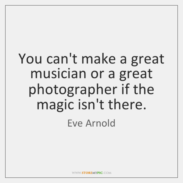 You can't make a great musician or a great photographer if the ...