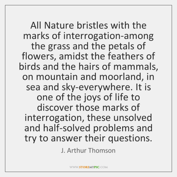 All Nature bristles with the marks of interrogation-among the grass and the ...