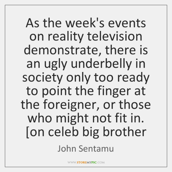 As the week's events on reality television demonstrate, there is an ugly ...
