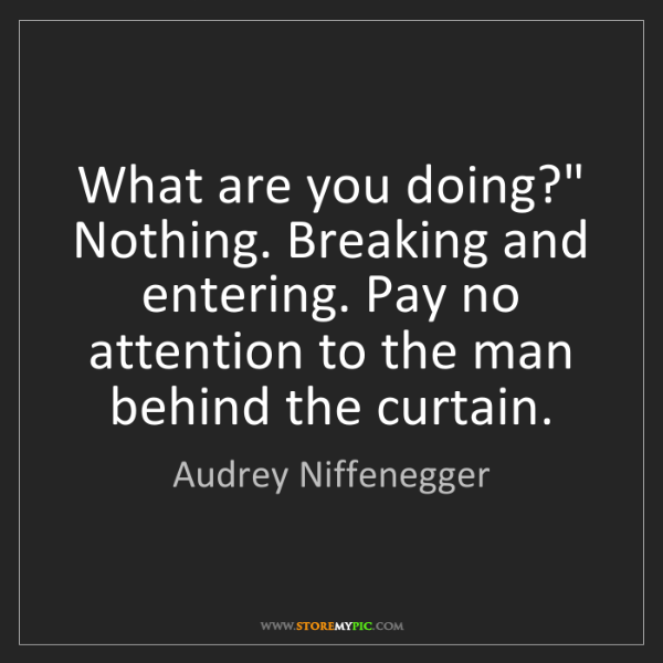 """Audrey Niffenegger: What are you doing?"""" Nothing. Breaking and entering...."""
