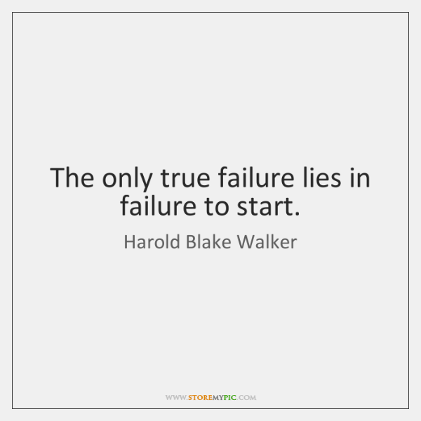 The only true failure lies in failure to start.