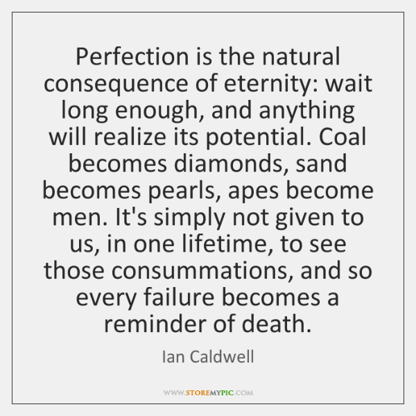 Perfection is the natural consequence of eternity: wait long enough, and anything ...