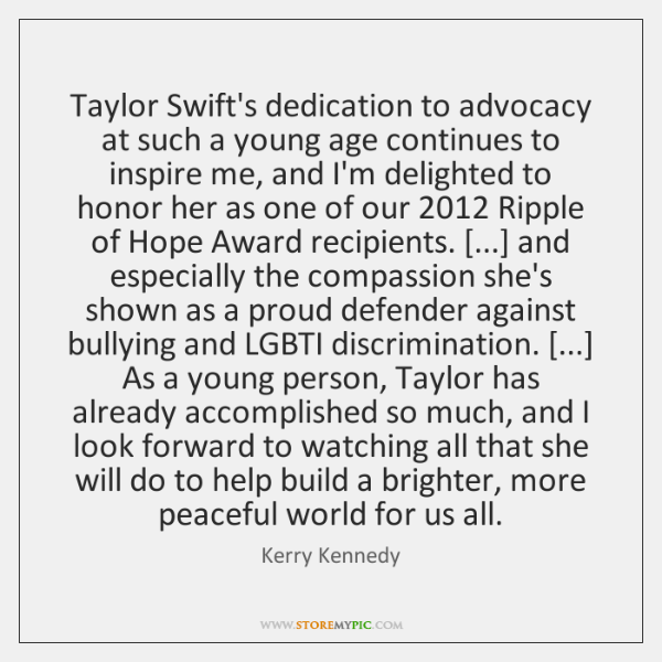 Taylor Swift's dedication to advocacy at such a young age continues to ...