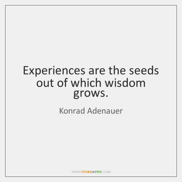 Experiences are the seeds out of which wisdom grows.
