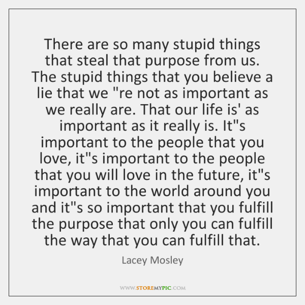 There are so many stupid things that steal that purpose from us. ...