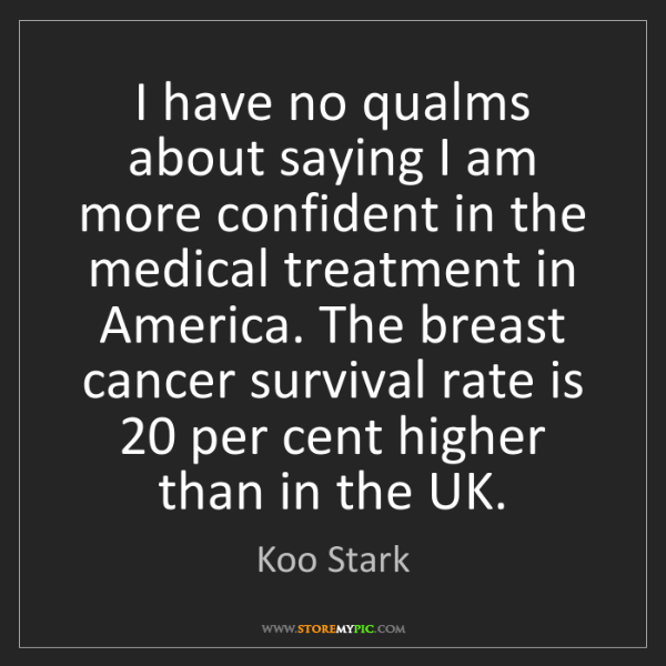 Koo Stark: I have no qualms about saying I am more confident in...