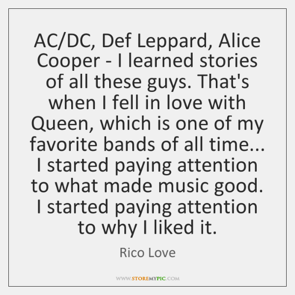 AC/DC, Def Leppard, Alice Cooper - I learned stories of all ...