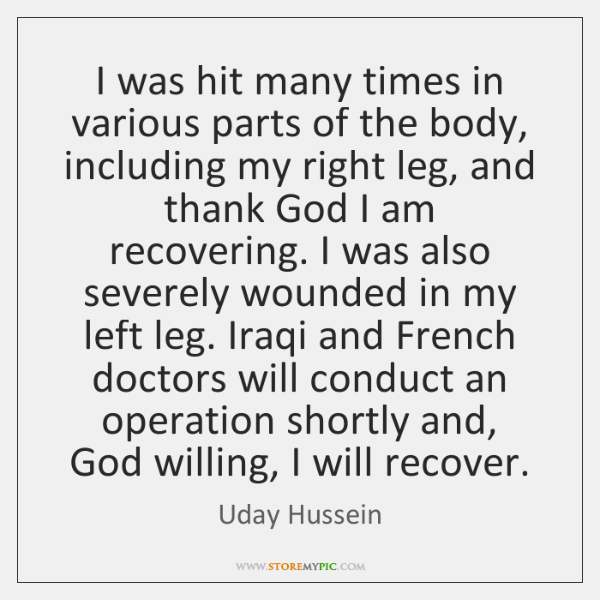 I was hit many times in various parts of the body, including ...