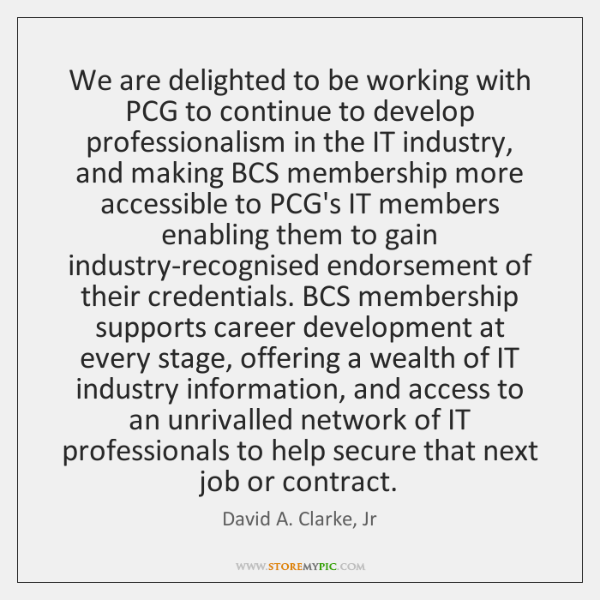 We are delighted to be working with PCG to continue to develop ...