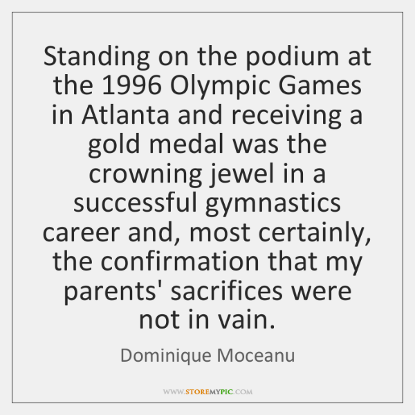 Standing on the podium at the 1996 Olympic Games in Atlanta and receiving ...