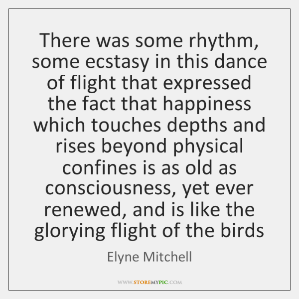 There was some rhythm, some ecstasy in this dance of flight that ...