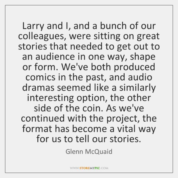 Larry and I, and a bunch of our colleagues, were sitting on ...