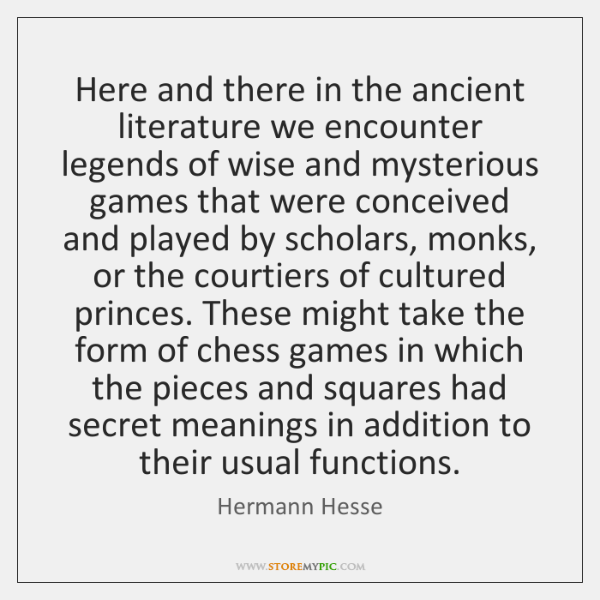 Here and there in the ancient literature we encounter legends of wise ...