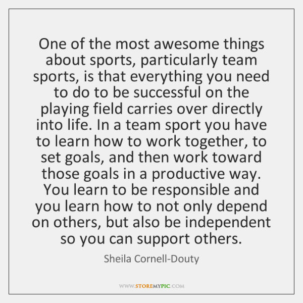 One of the most awesome things about sports, particularly team sports, is ...