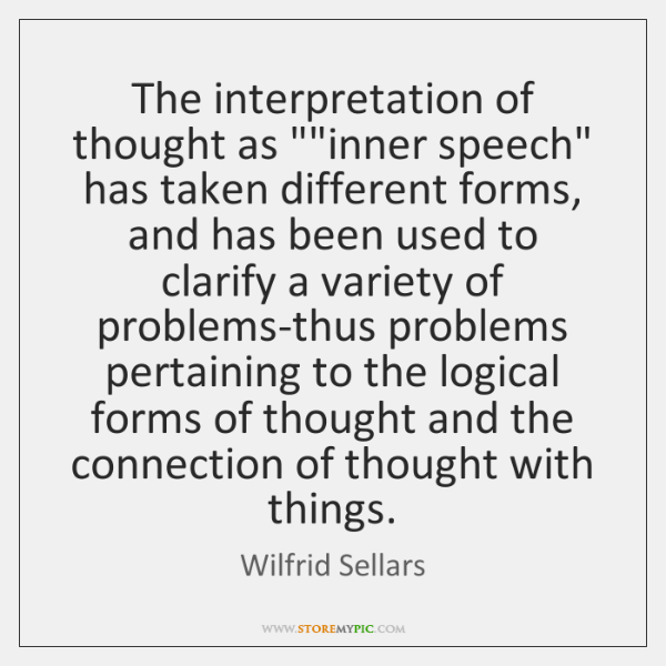The interpretation of thought as