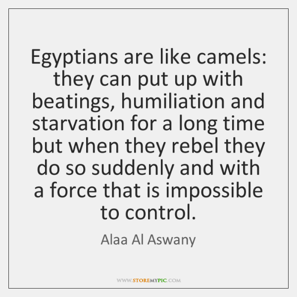Egyptians are like camels: they can put up with beatings, humiliation and ...