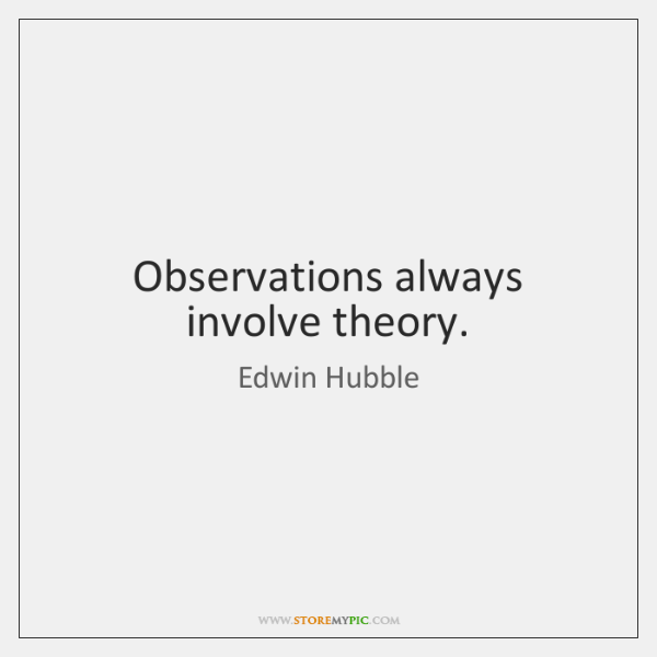 Observations always involve theory.