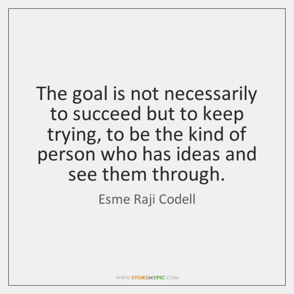 The goal is not necessarily to succeed but to keep trying, to ...