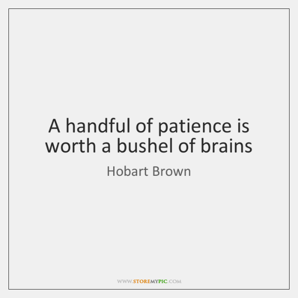 A handful of patience is worth a bushel of brains