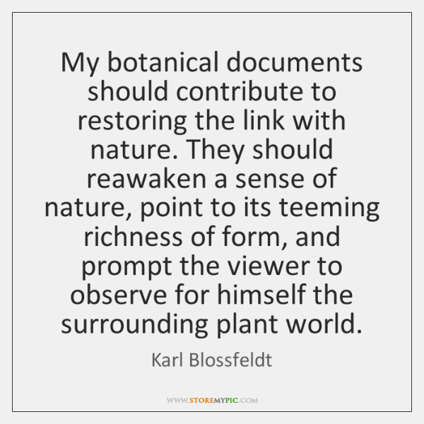 My botanical documents should contribute to restoring the link with nature. They ...