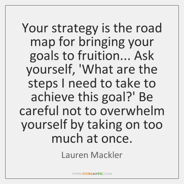 Your strategy is the road map for bringing your goals to fruition... ...