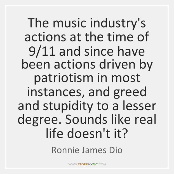 The music industry's actions at the time of 9/11 and since have been ...