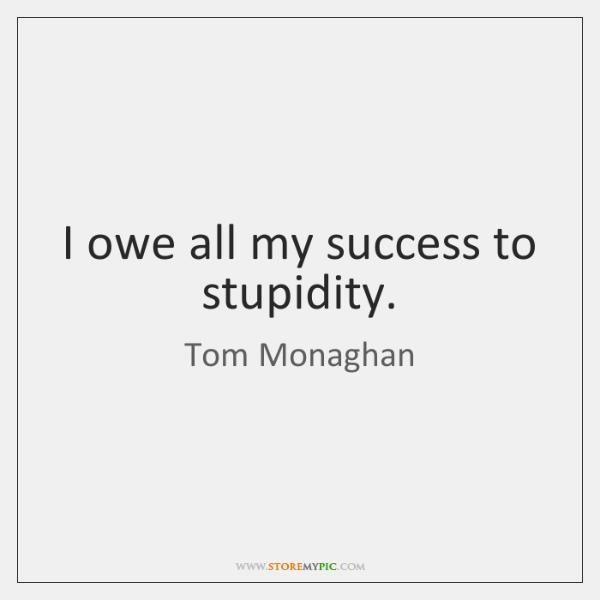 I owe all my success to stupidity.