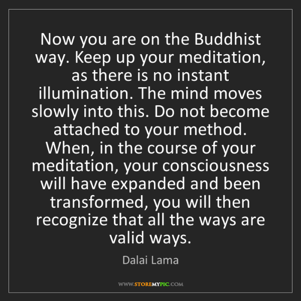 Dalai Lama: Now you are on the Buddhist way. Keep up your meditation,...