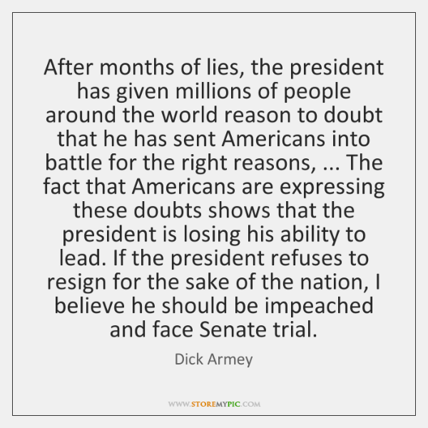After months of lies, the president has given millions of people around ...