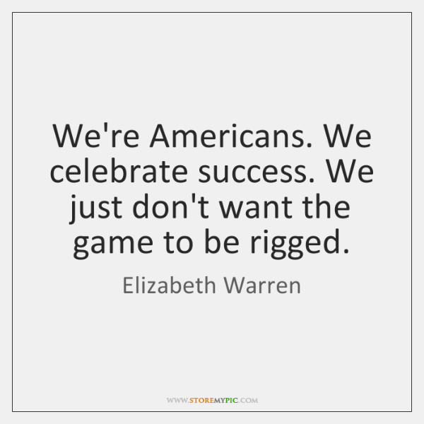 We're Americans. We celebrate success. We just don't want the game to ...