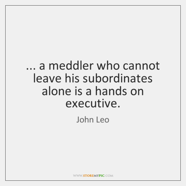 ... a meddler who cannot leave his subordinates alone is a hands on ...