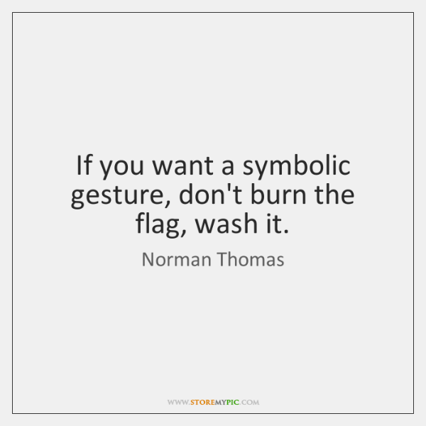 If you want a symbolic gesture, don't burn the flag, wash it.