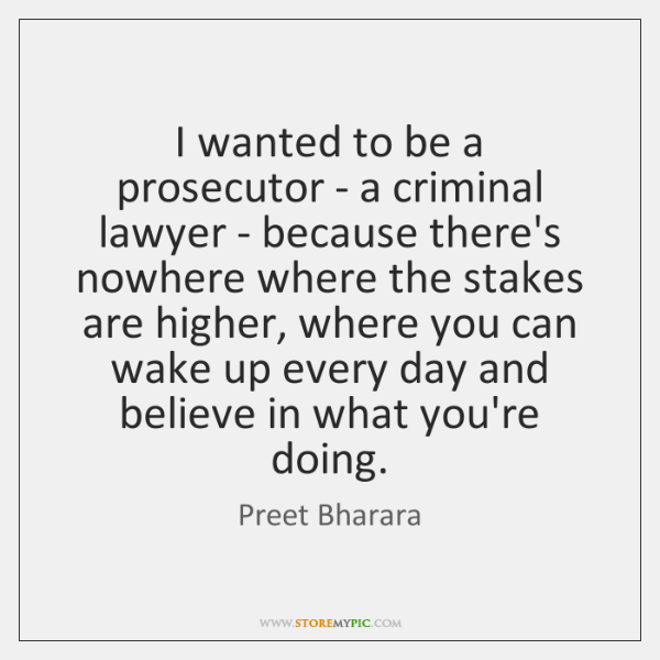 I wanted to be a prosecutor - a criminal lawyer - because ...
