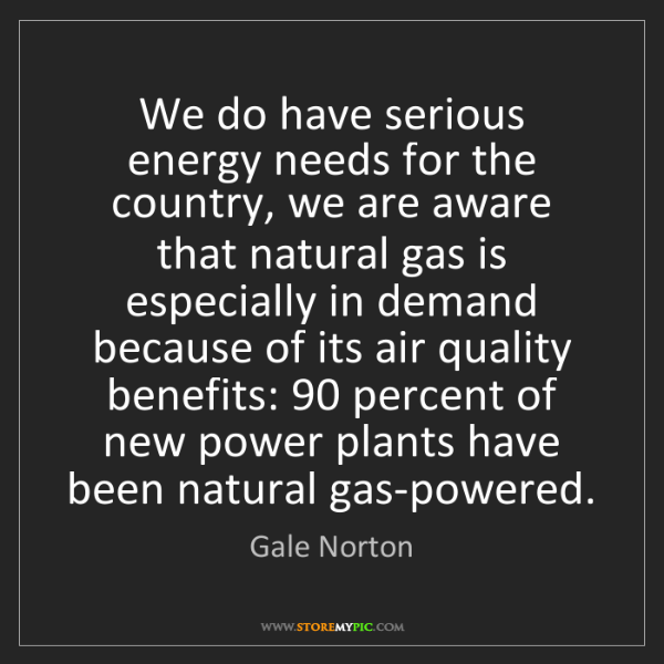 Gale Norton: We do have serious energy needs for the country, we are...