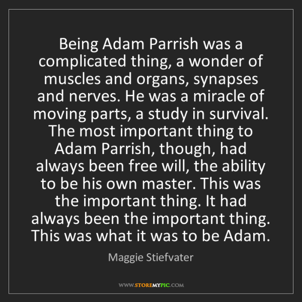 Maggie Stiefvater: Being Adam Parrish was a complicated thing, a wonder...