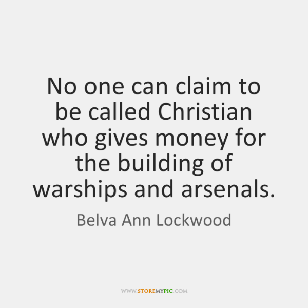 No one can claim to be called Christian who gives money for ...