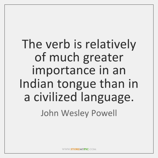 The verb is relatively of much greater importance in an Indian tongue ...