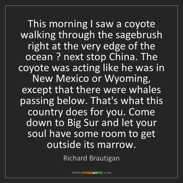 Richard Brautigan: This morning I saw a coyote walking through the sagebrush...