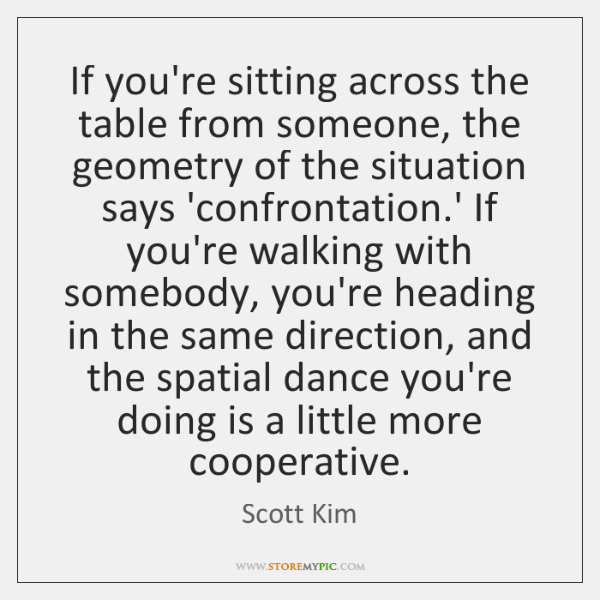 If you're sitting across the table from someone, the geometry of the ...