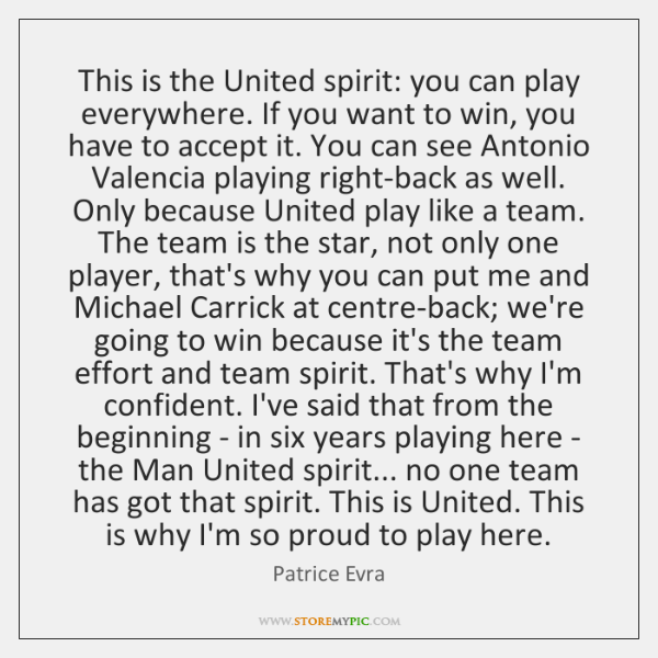 This is the United spirit: you can play everywhere. If you want ...