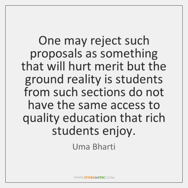 One may reject such proposals as something that will hurt merit but ...