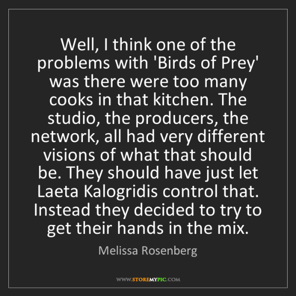 Melissa Rosenberg: Well, I think one of the problems with 'Birds of Prey'...