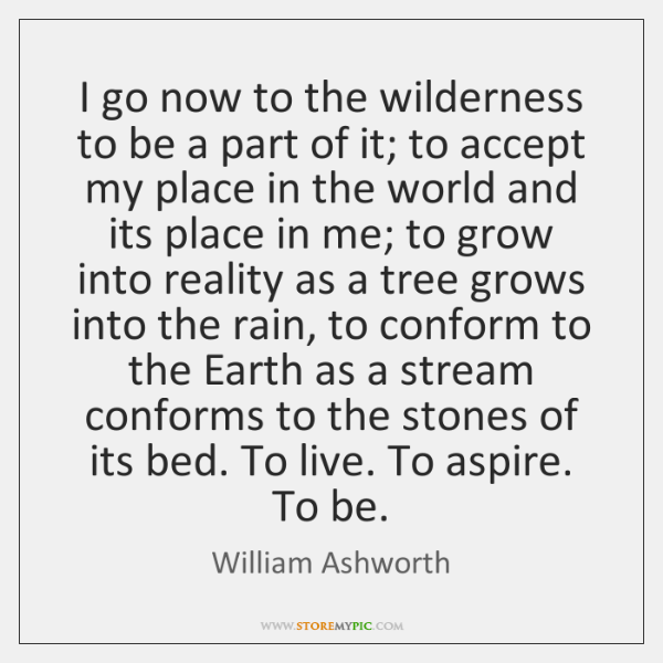 I go now to the wilderness to be a part of it; ...