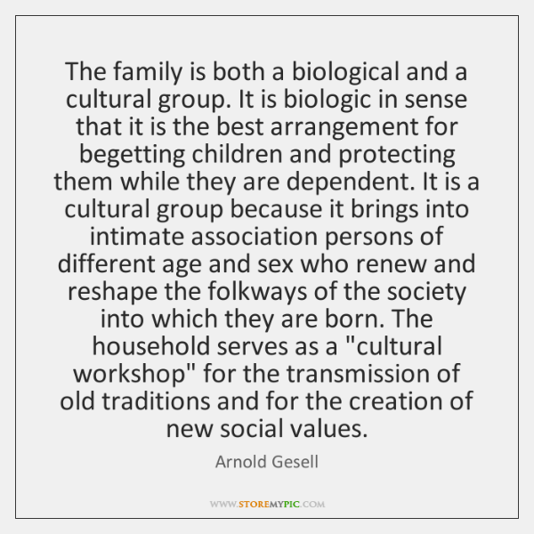 The family is both a biological and a cultural group. It is ...